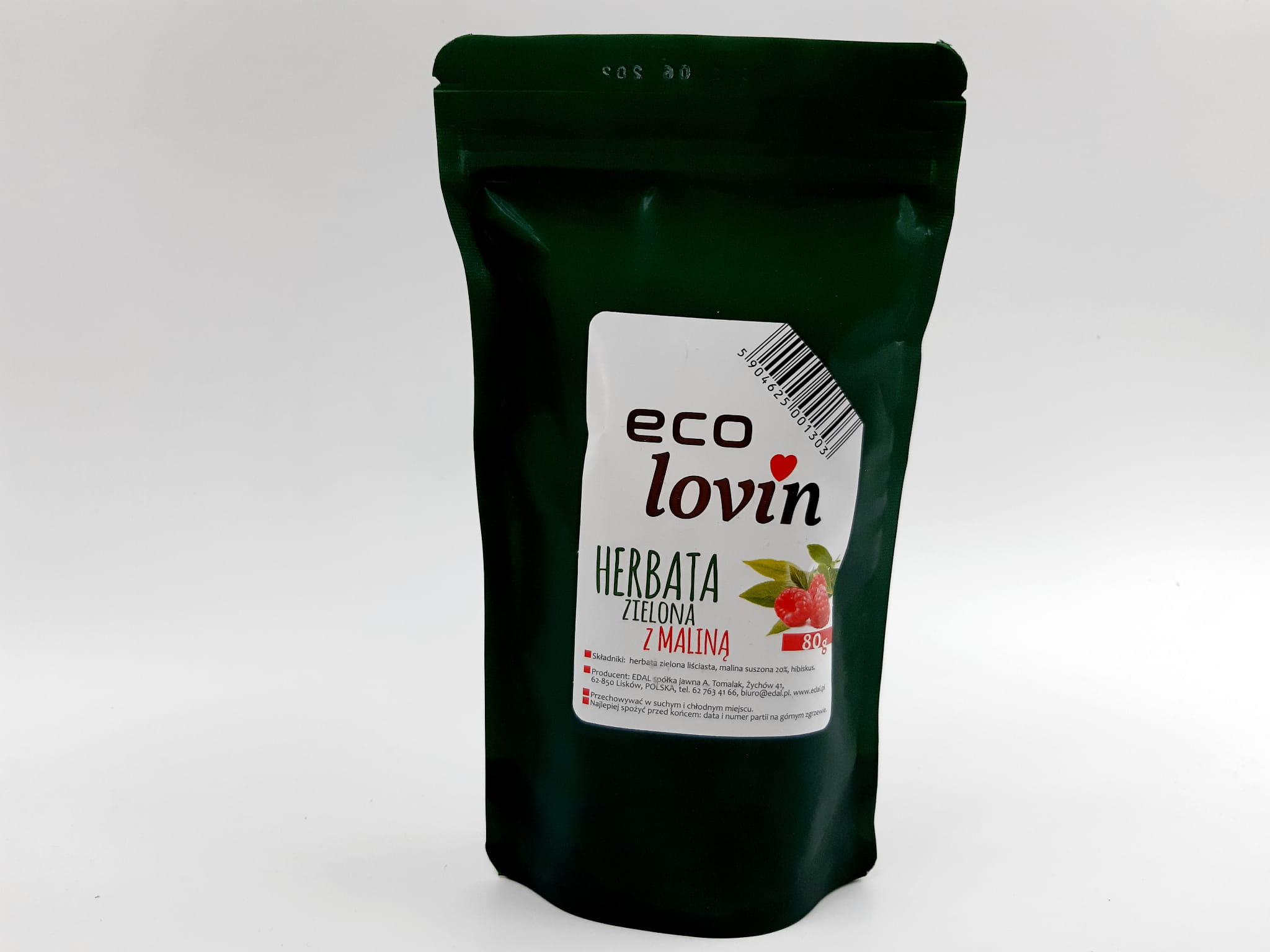 Herbata Zielona z maliną liściasta Eco Lovin Edal