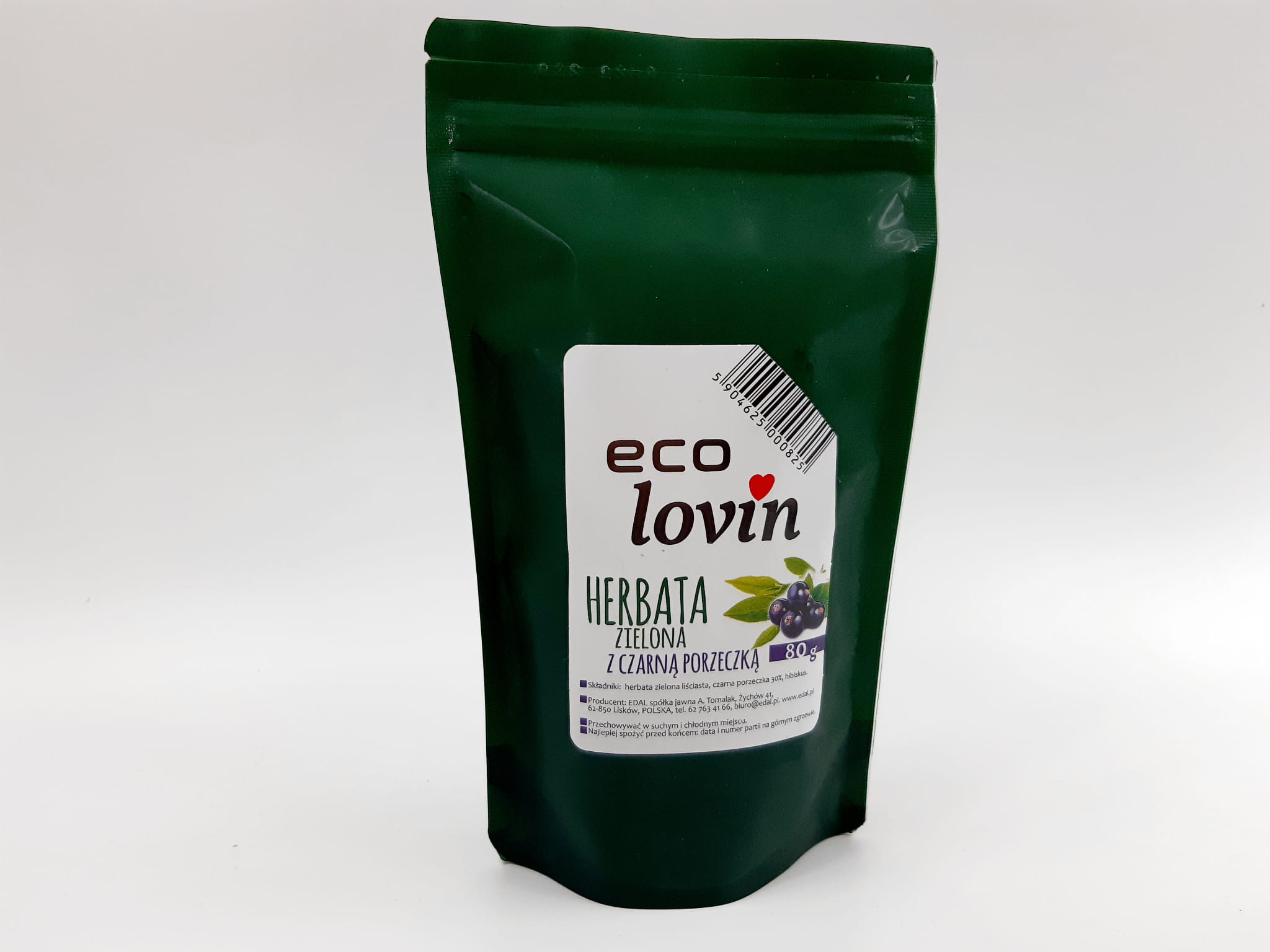 Herbata Zielona z czarną porzeczką liściasta Eco Lovin Edal